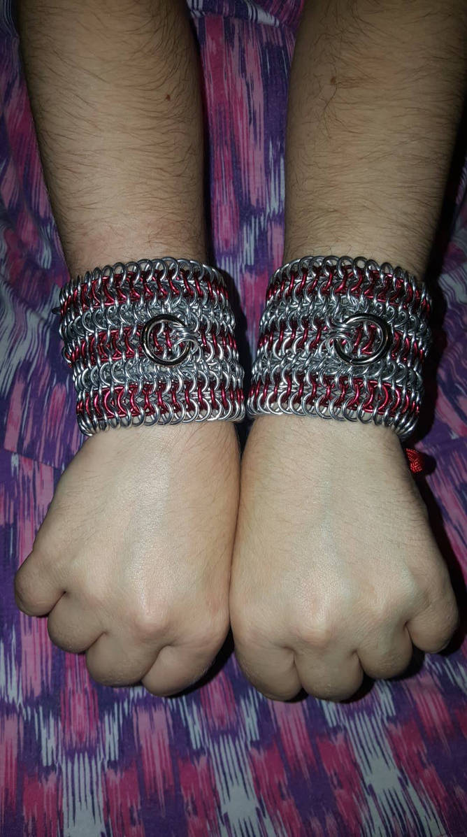 Chainmail Laced Cuffs. (Front)