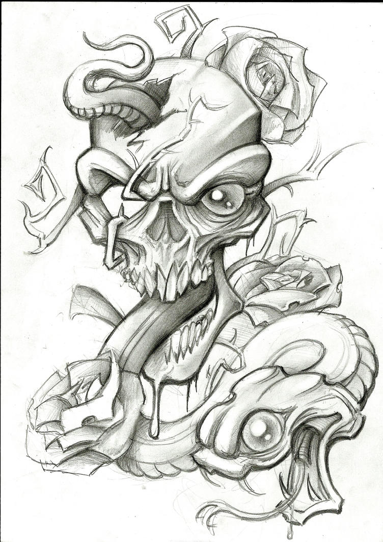 Snake n Skull Tattoo On Full Body » Tattoo Ideas |Snake Tattoo Sketches
