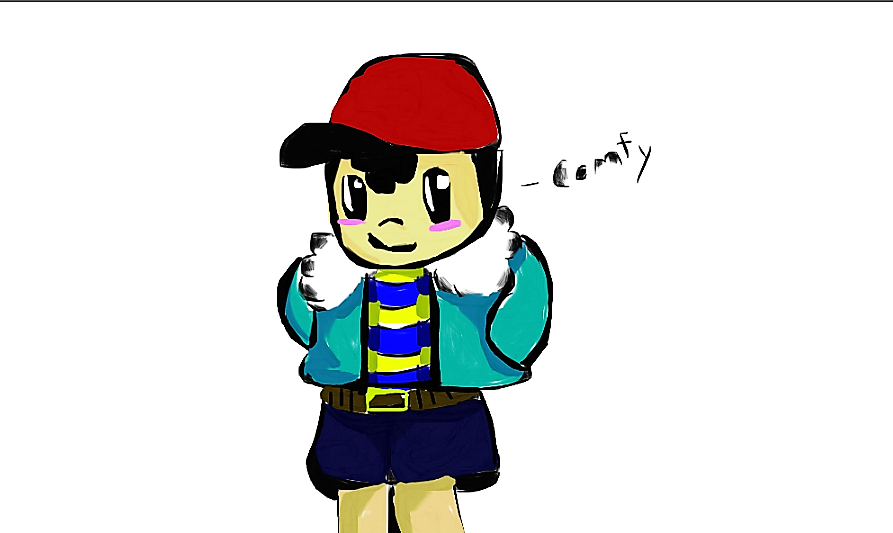 Ness wearing Sans' Jacket :3 by WaffleArtCorner