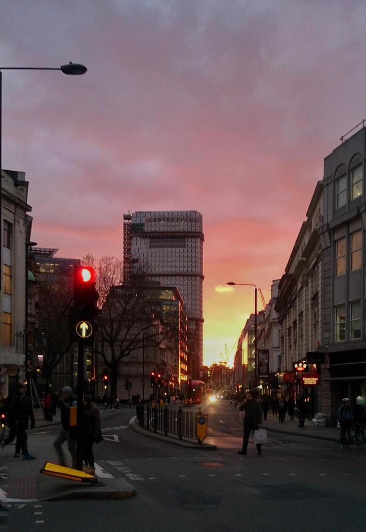 sunset in holborn  by lokitsune
