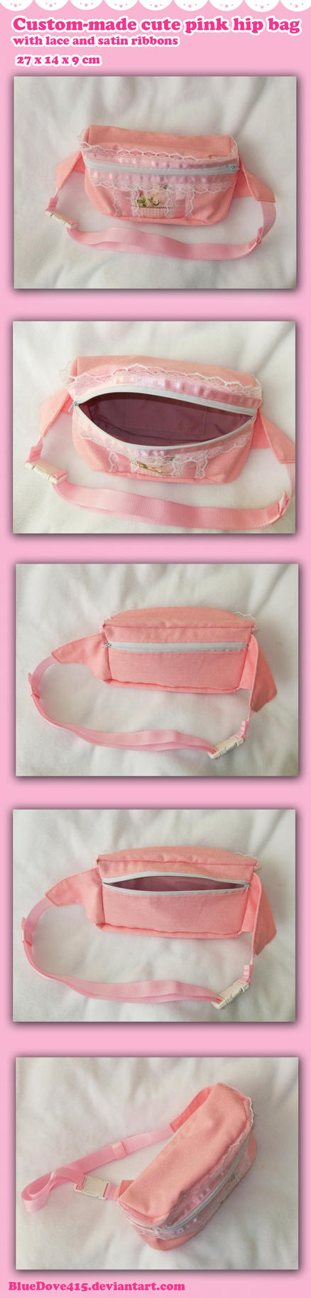 Custom-made cute pink hip bag by BlueDove415