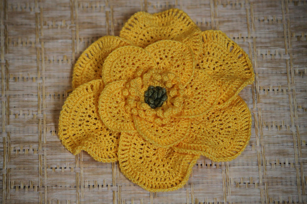 Big Yellow Crochet Flower + link to etsy pattern by calileane on ...