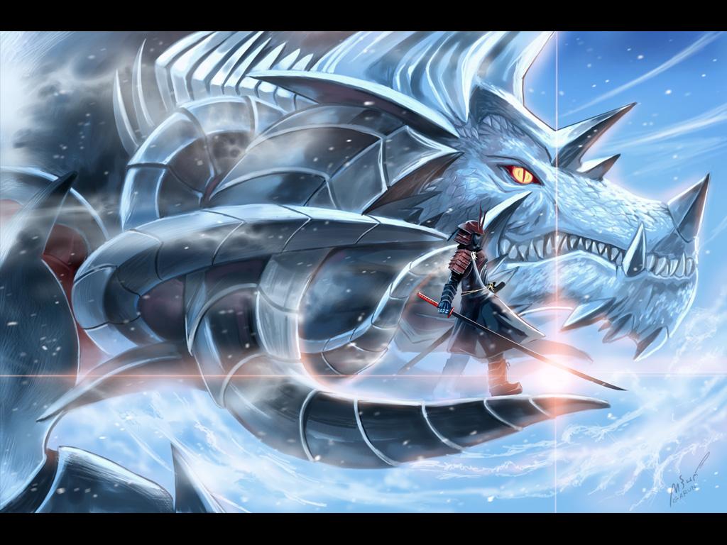 samurai and Dragon by garun