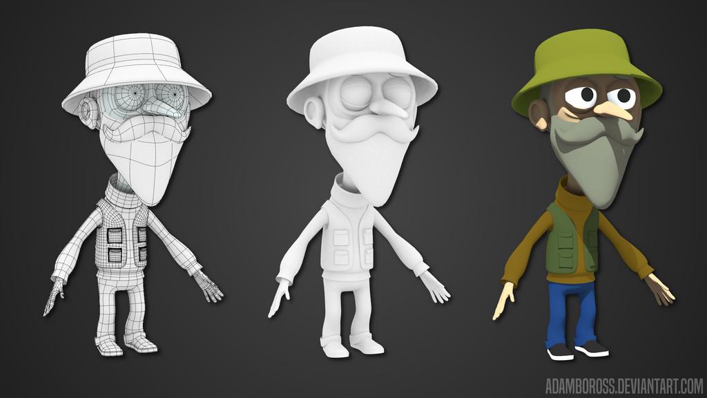 Fisherman character model by adamboross