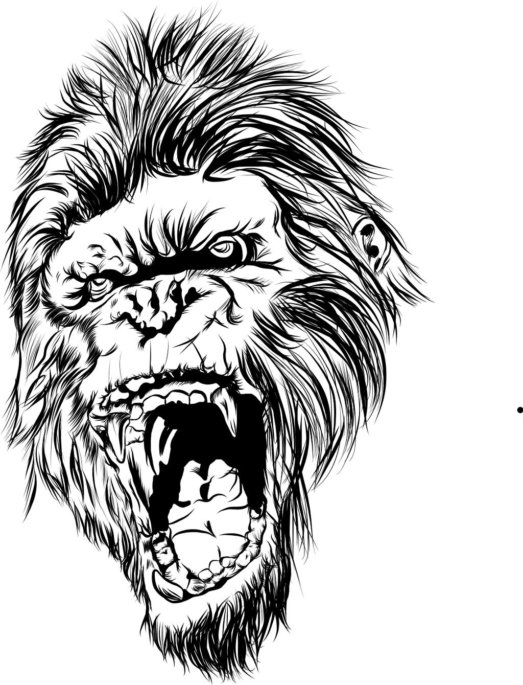 Angry Gorilla Outline - photo#42