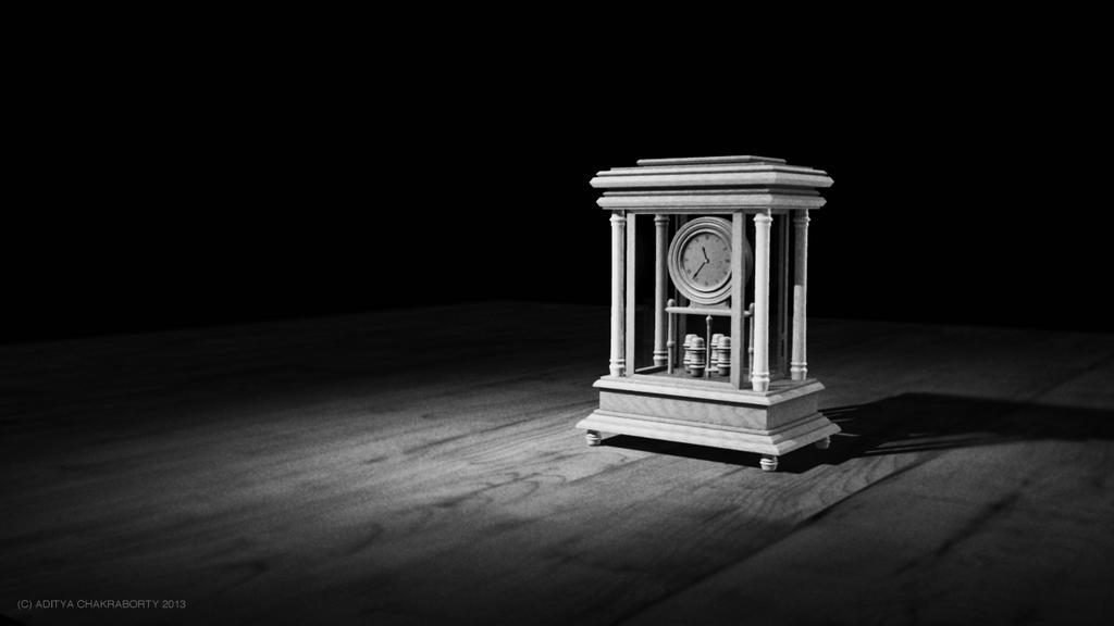 Clock Black And White By Adityachakra