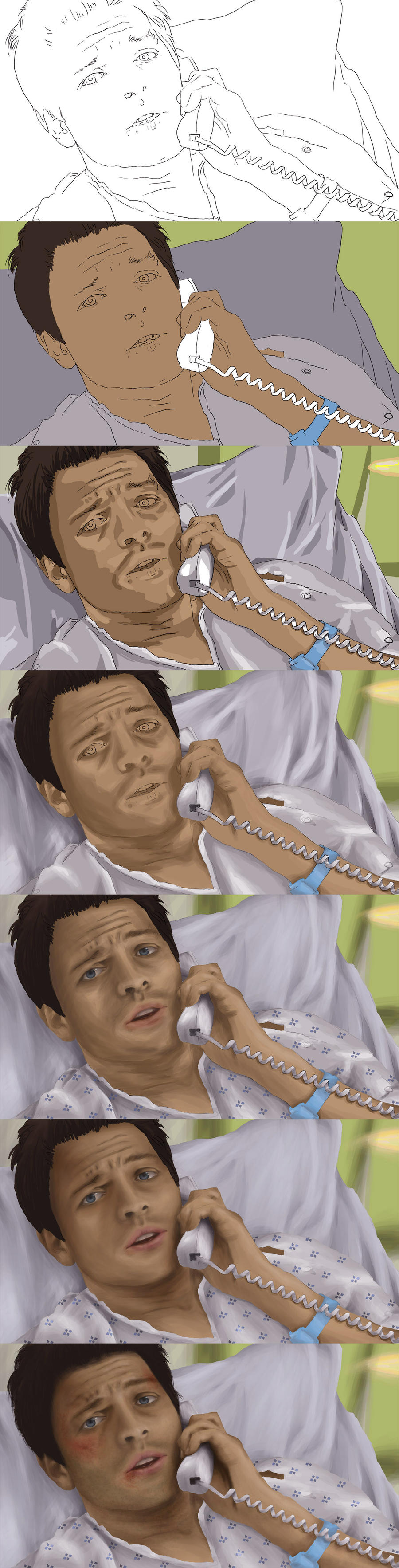 Castiel at Hospital WIP by Touya-shi