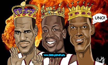 Miami Heat Three Kings Caricature