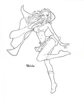 Supergirl WIP inks