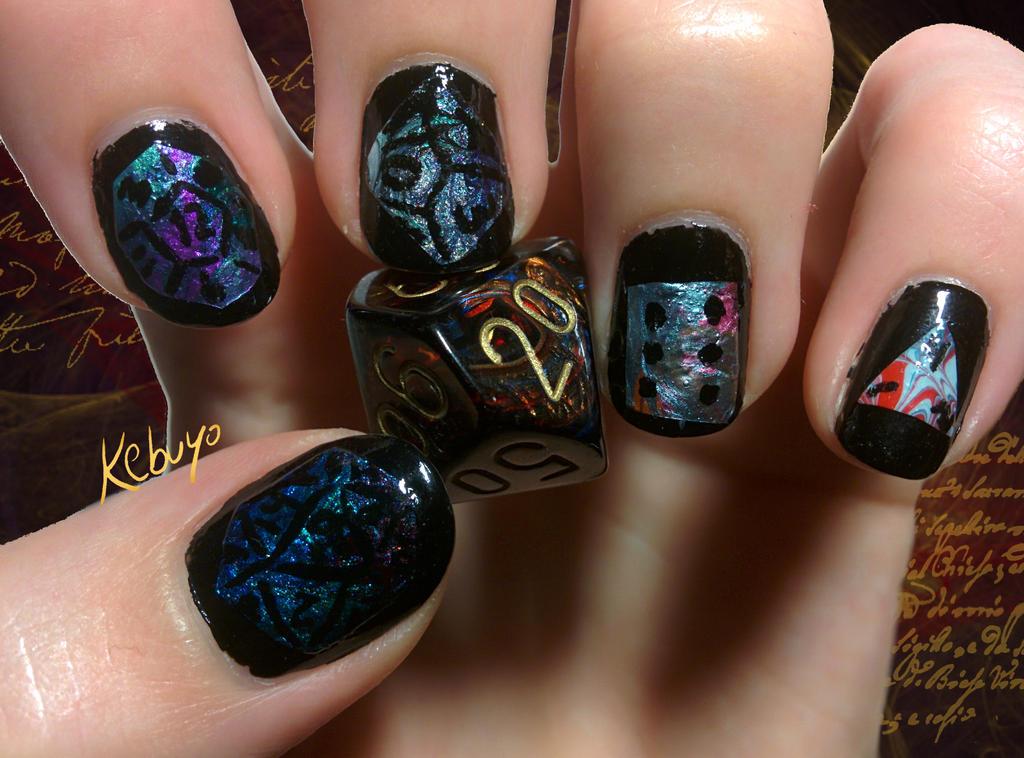 RPG Nail Art: Rolling Dice by Kebuyo