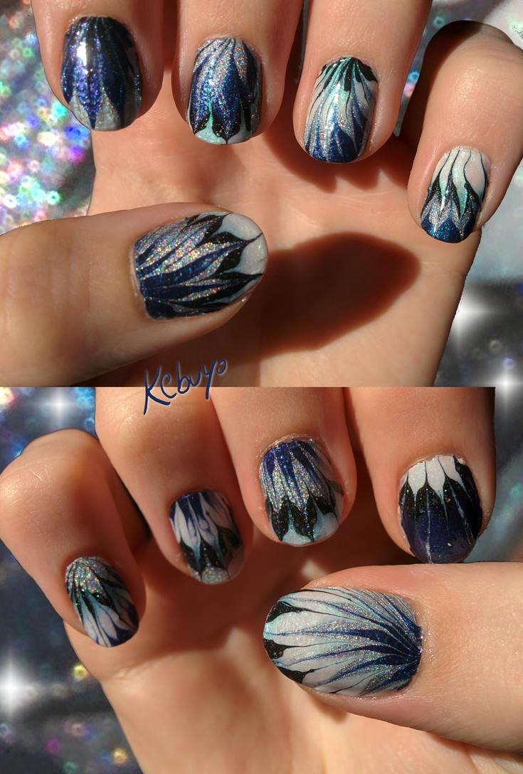 Marbling Nail Art: Space Flowers by Kebuyo