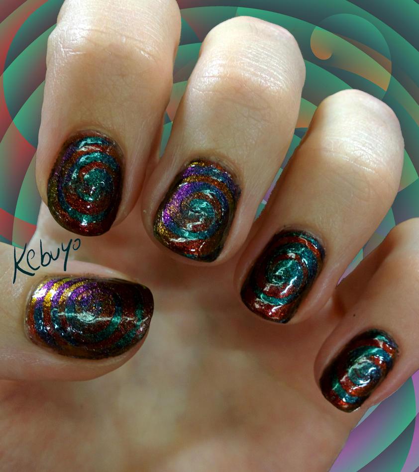 Gradient Nail Art: Multichrome Cyclones by Kebuyo