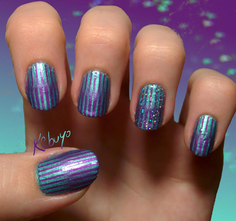 Gradient Nail Art: Pearl stripes by Kebuyo on DeviantArt