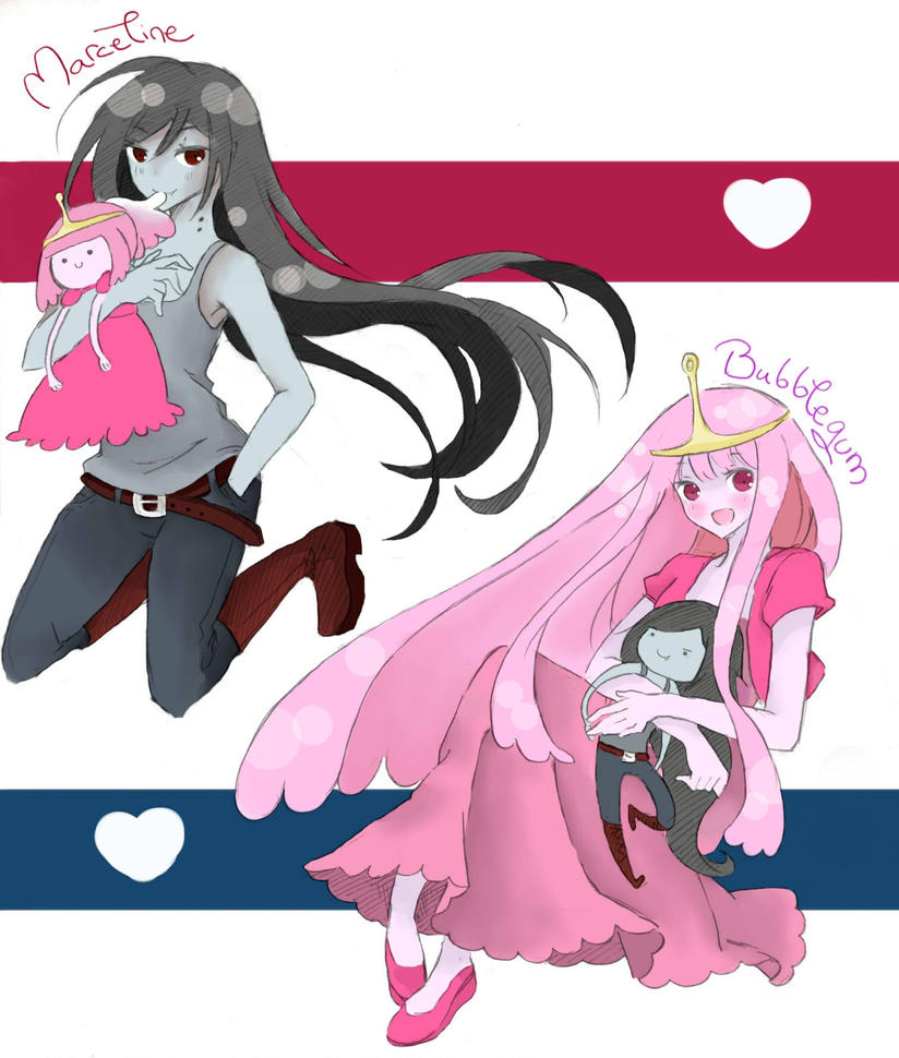 Bubblegum and Marceline by LabJusticaholic