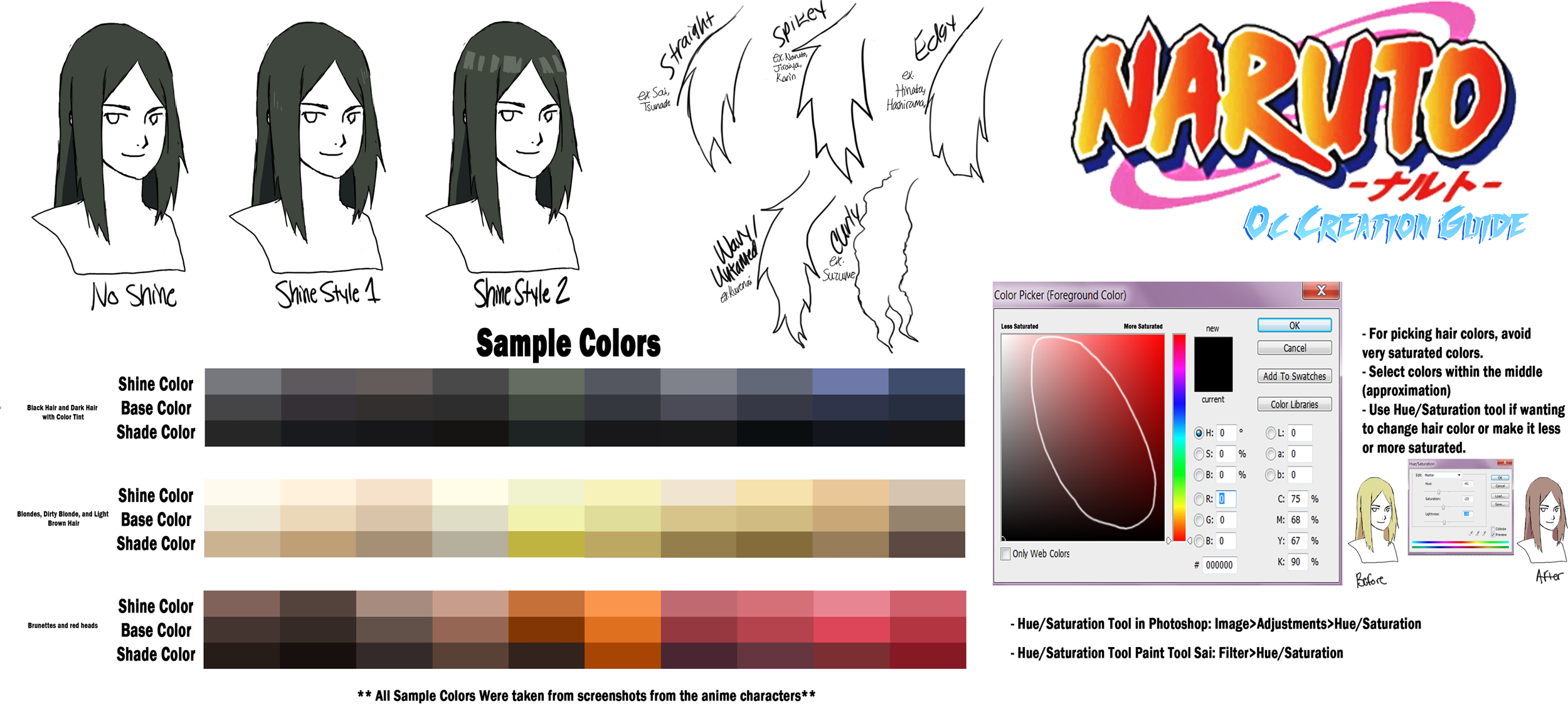 Naruto OC Guide: Hair Color and Styles by anniberri on DeviantArt
