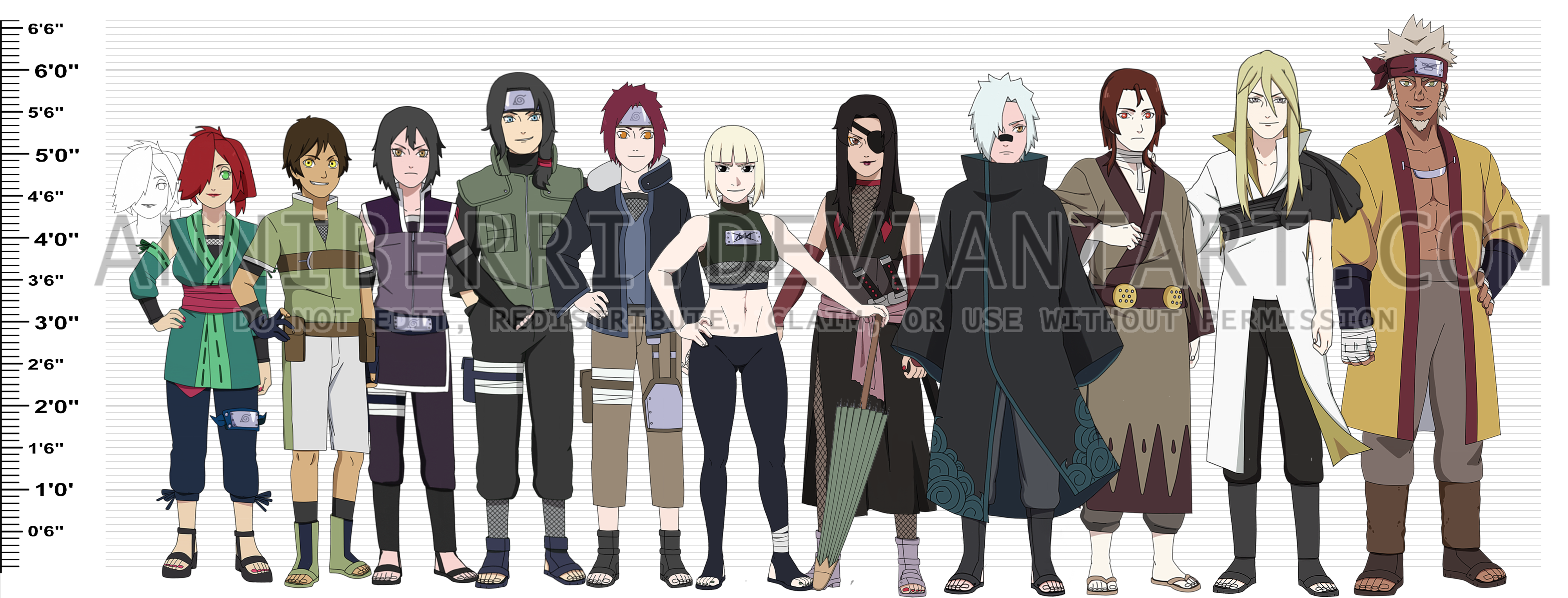 Anime Characters Over 6 Feet Tall : Remake naruto oc height chart by anniberri on deviantart