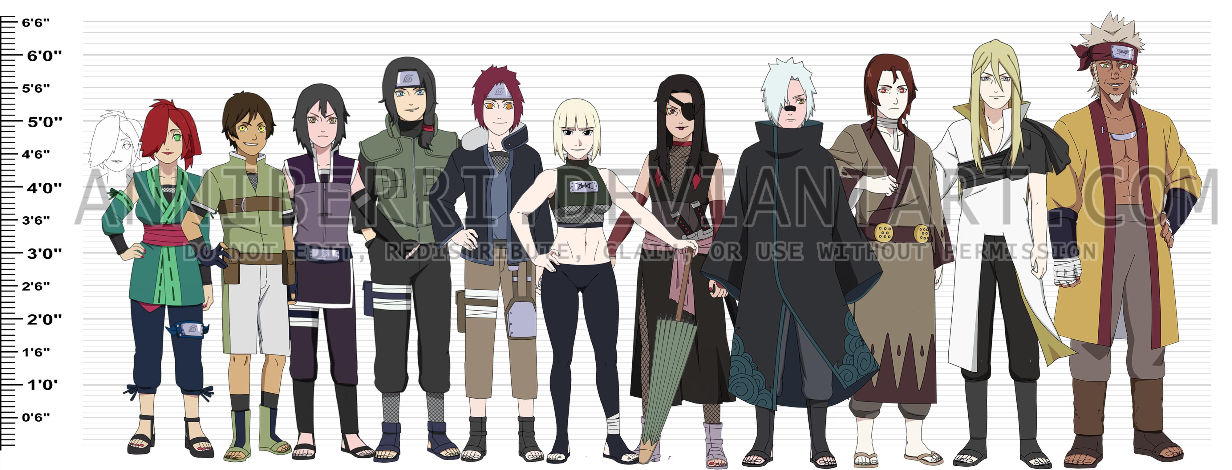 -REMAKE- Naruto OC Height Chart by anniberri
