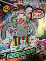 Pig the clown graffiti by PIGGHAMMER