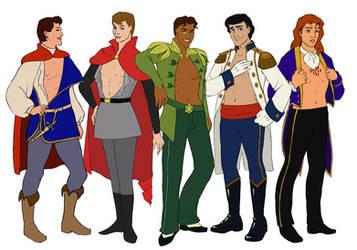 5 Disney Pin-up Princes by daestwen