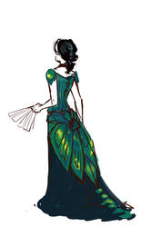 Beetle Wing Ball Gown by daestwen