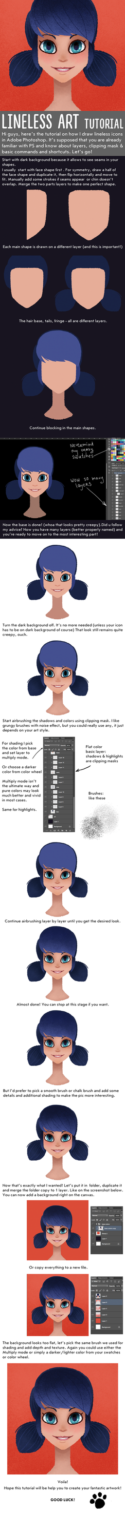 Lineless artwork (and icons) tutorial by kanievska