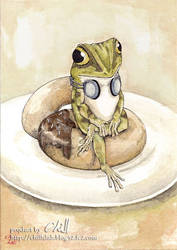 That frog likes doughnut and g