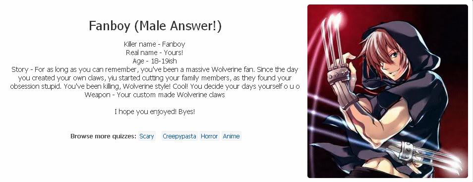 You as a Creepypasta Quiz result by RogueGamerKisshu on DeviantArt