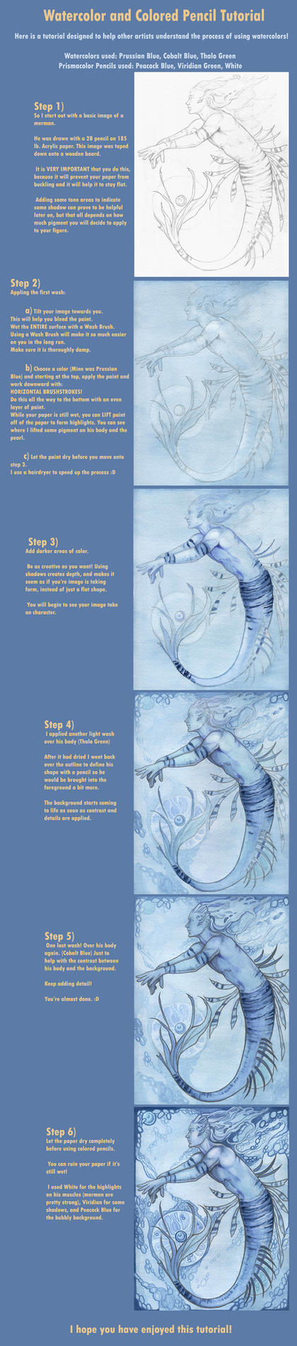 Watercolor and Pencil Tutorial by Aikya