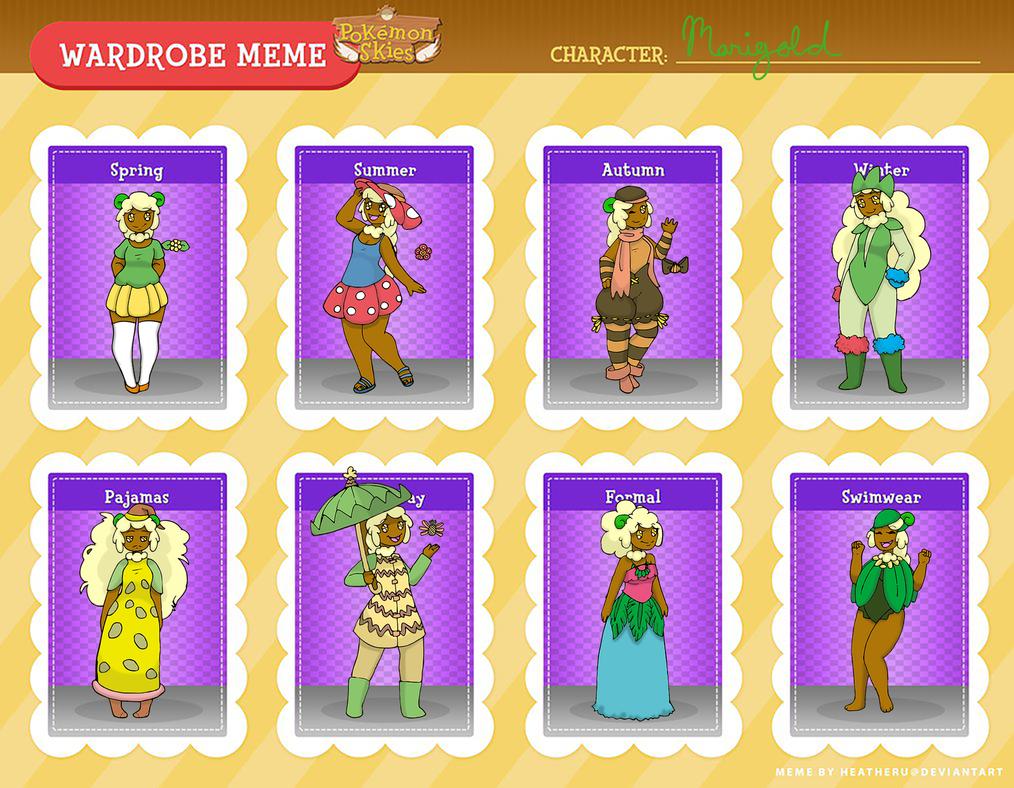 PKMNSkies : Marigold's Wardrobe Meme by VerdantCreature