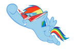 Rainbow Dash with Kamina glasses