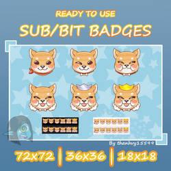 Cheap Shiba inu twitch sub/bit badegs (premade)