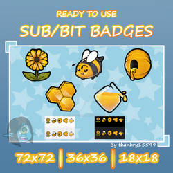 Cheap Honey and Bee theme twitch badegs (premade)