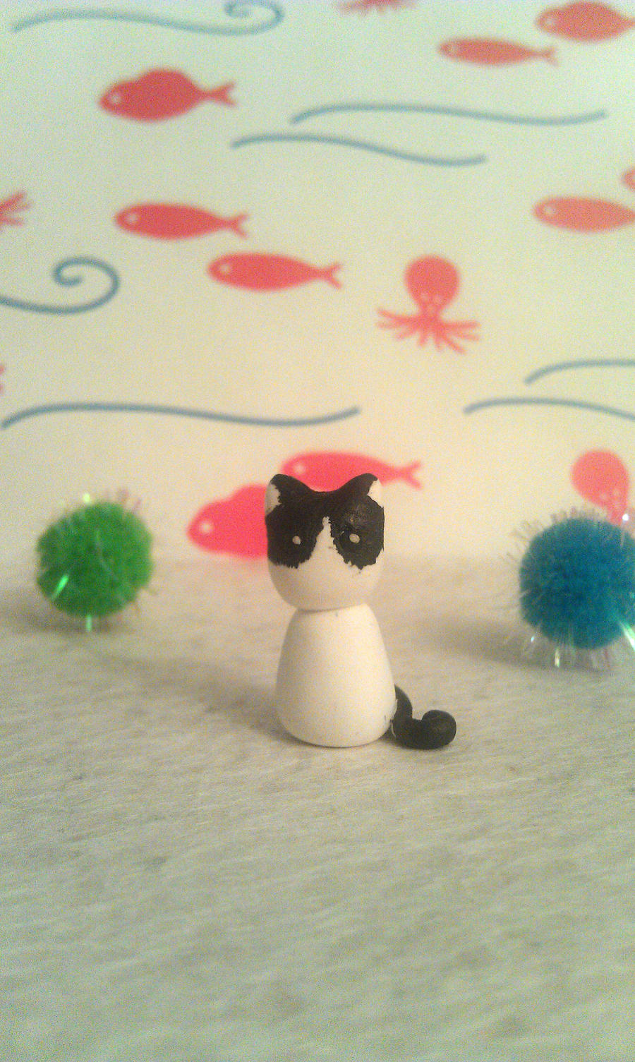 Tiny Tuxedo Kitty - polymer clay miniature by StarfallAtDusk
