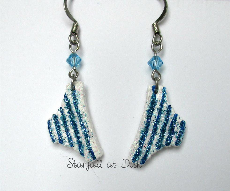 Blue Striped Shimapan Panty Earrings by StarfallAtDusk