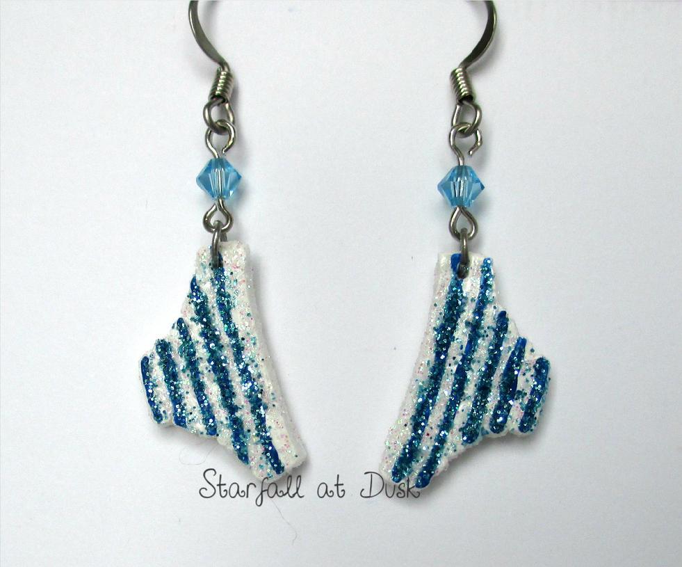 Blue Striped Shimapan Panty Earrings by StarfallAtDusk