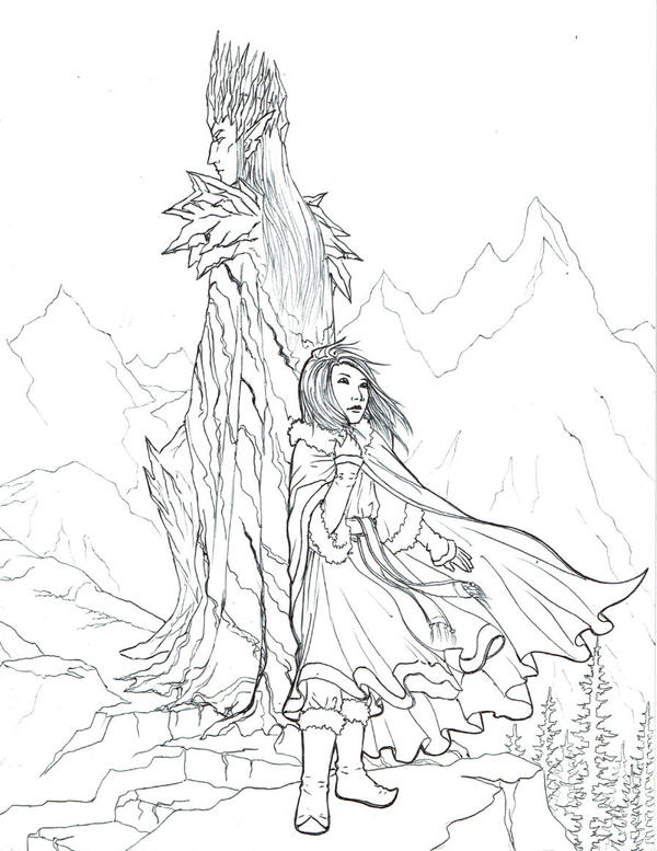 Dren and Nella Lineart by nolwen
