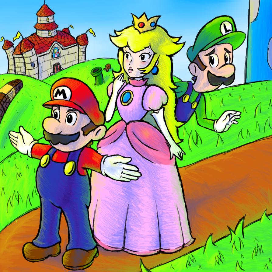 Mario Peach and Luigi by GenericAnime
