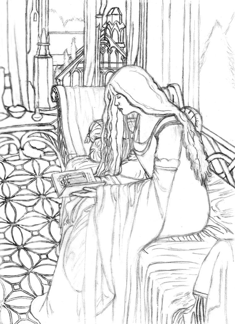 arwen reading line art by ainulaire on deviantart