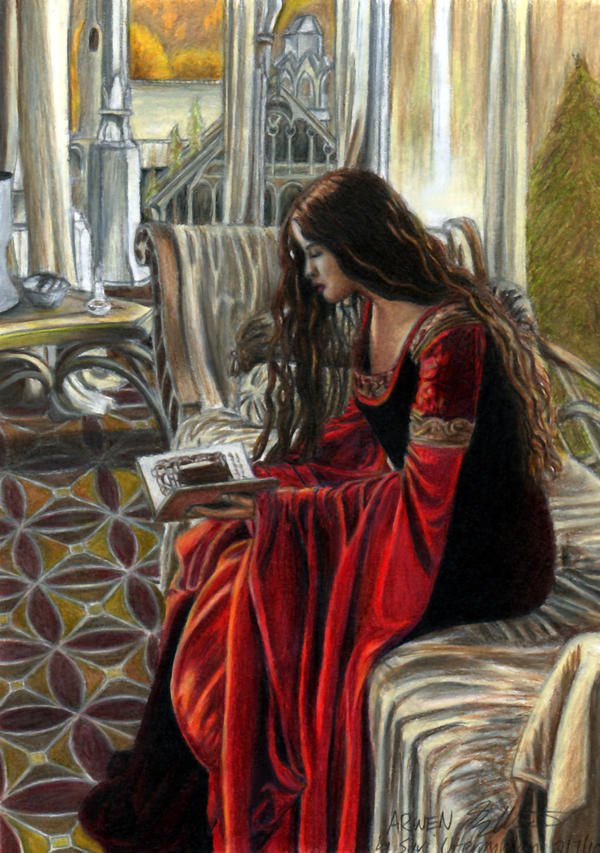 Drawing  Arwen_Reading__Colored_by_AinuLaire