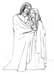 Aragorn and Arwen- lineart by AinuLaire