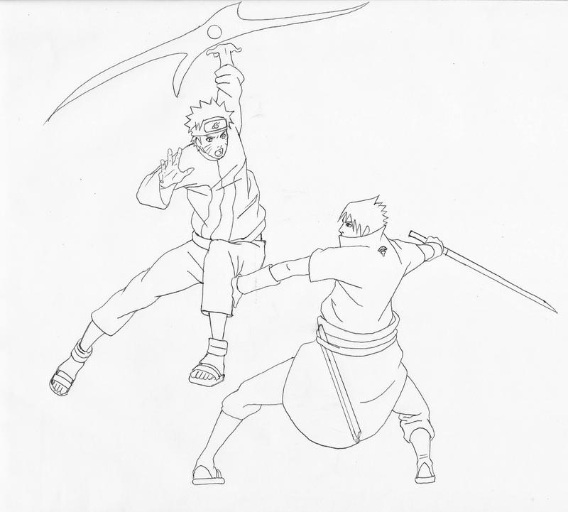 how to draw naruto fighting