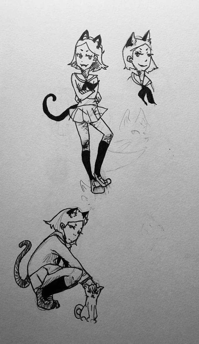 cat doodles by Kandiser