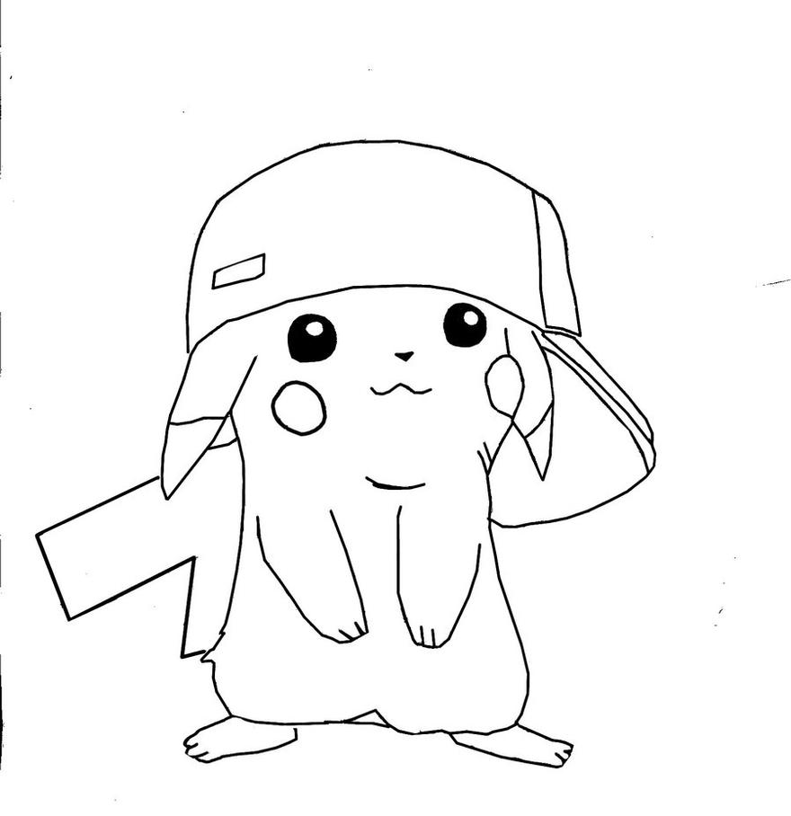 Pokemon Ausmalbilder Raichu : Pikachu With Hat Coloring Pages