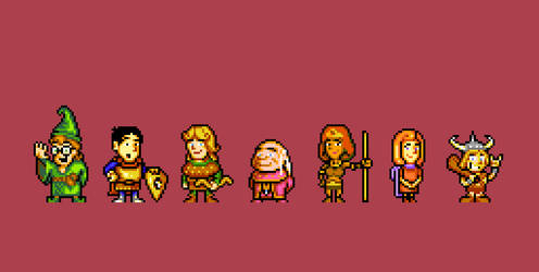 Dungeons and Dragons 8bits FanArt. 9 Colors (each) by Teciozzz