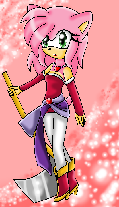 Amy rose as Terra brandford by MetalCarebearGirl
