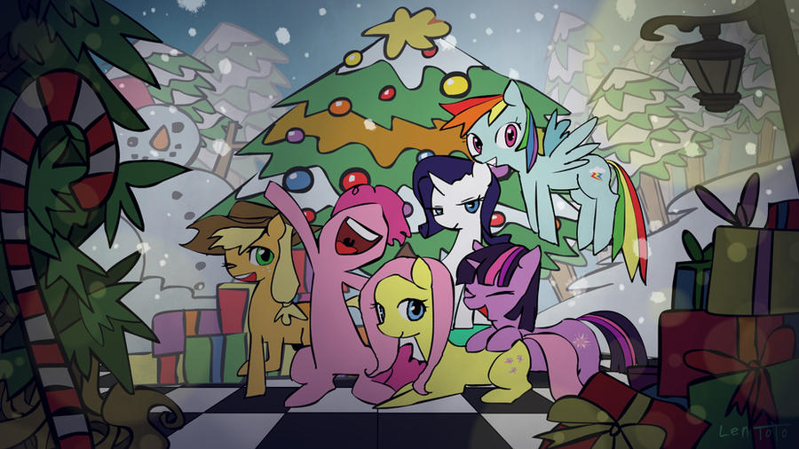 MLP Christmas wallpaper by LenToTo