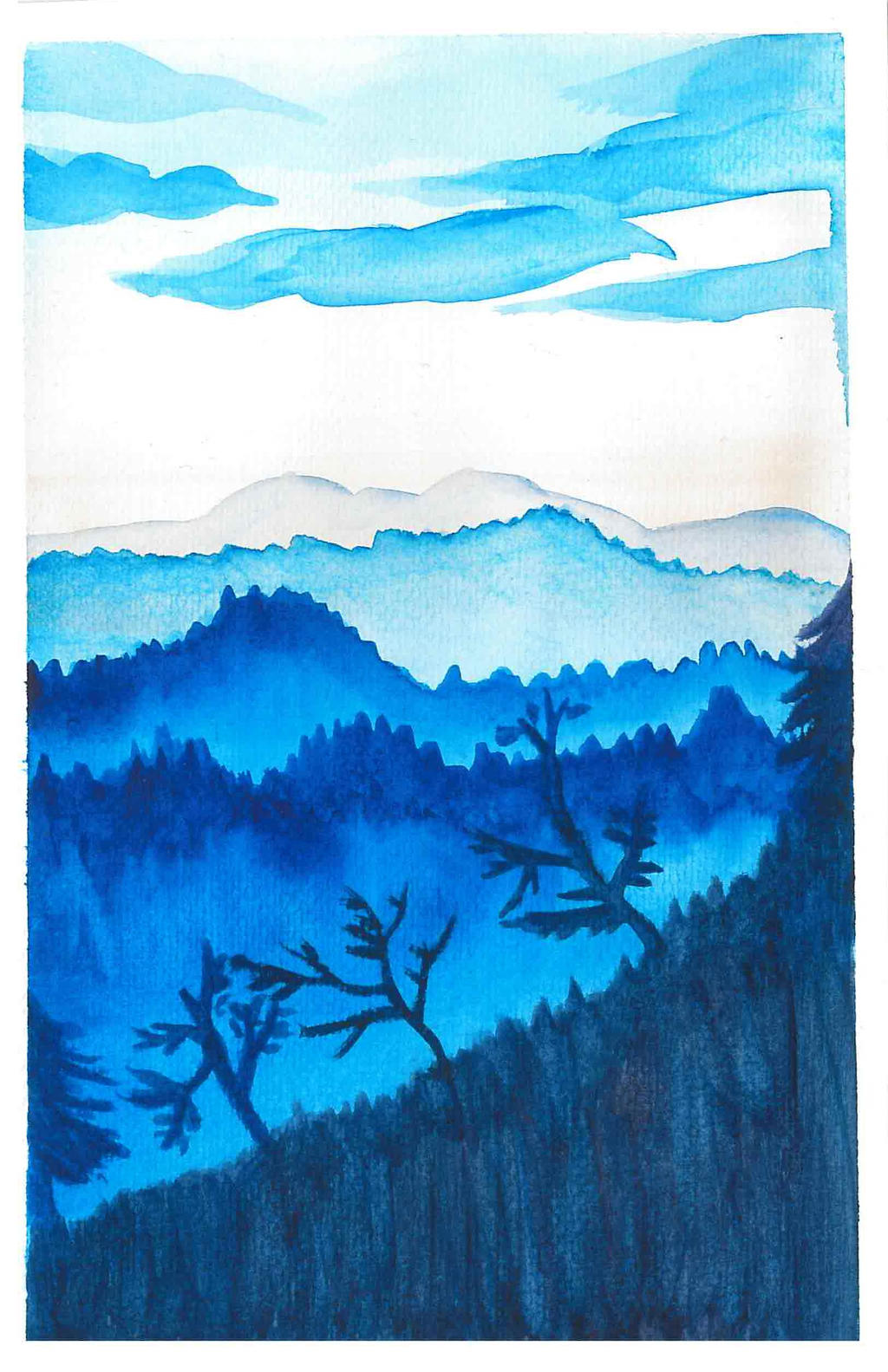 Watercolor mountains by vihervirveli
