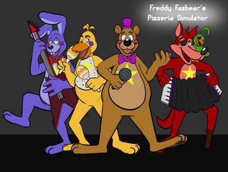 Cartoon Freddy fazbear and gang