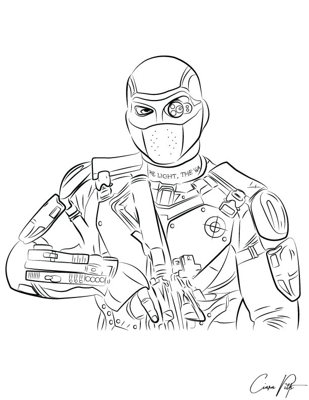 Deadshot line art by designbyciara on deviantart for Suicide squad coloring pages
