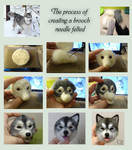 The process of creating a brooch needle felted